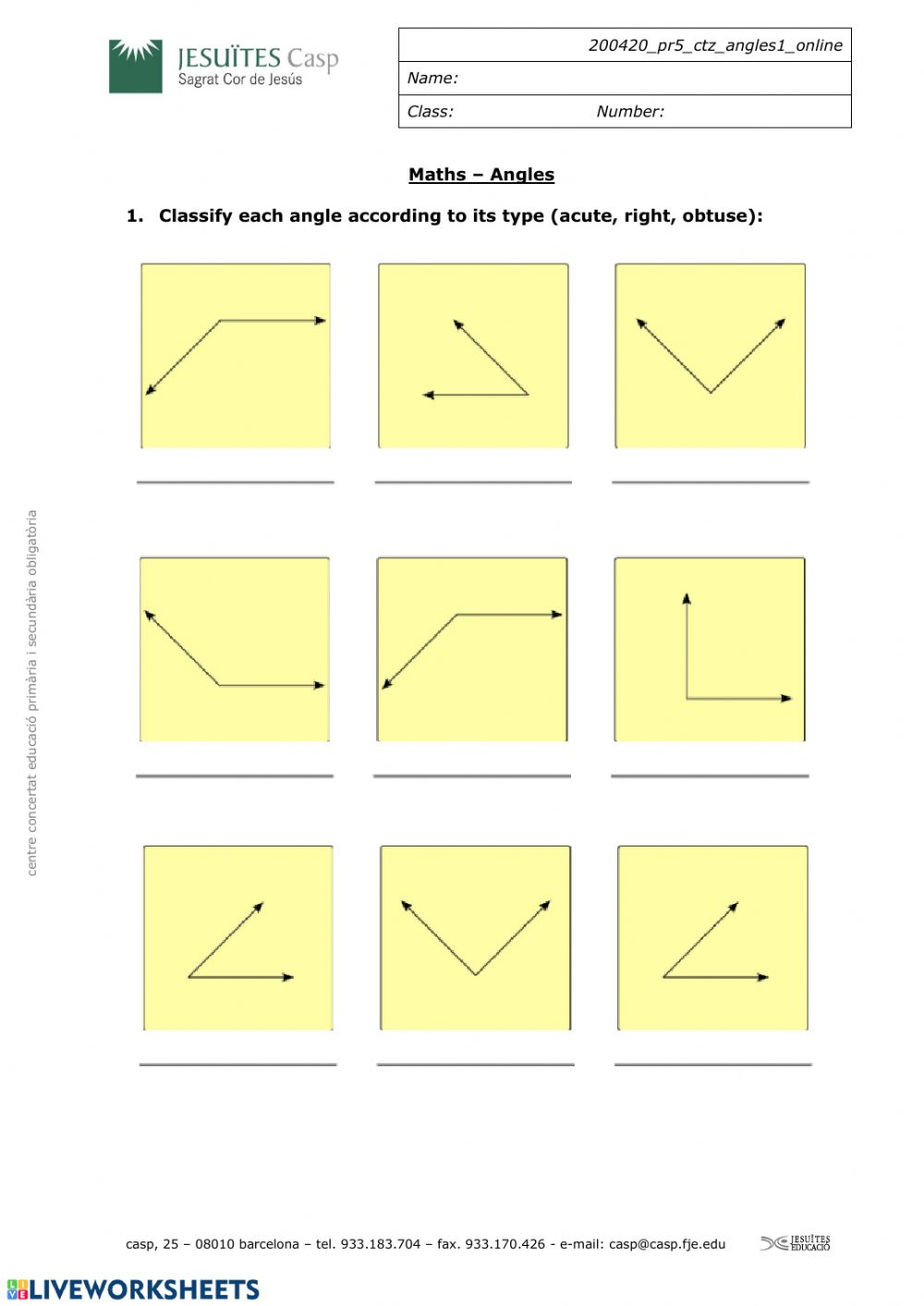 hight resolution of Classification angles worksheet