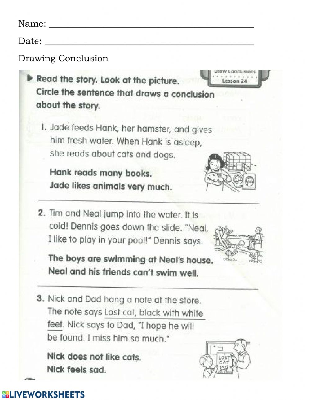 medium resolution of Drawing Conclusion worksheet