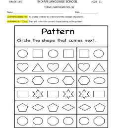 Shapes and Patterns worksheet [ 1291 x 1000 Pixel ]