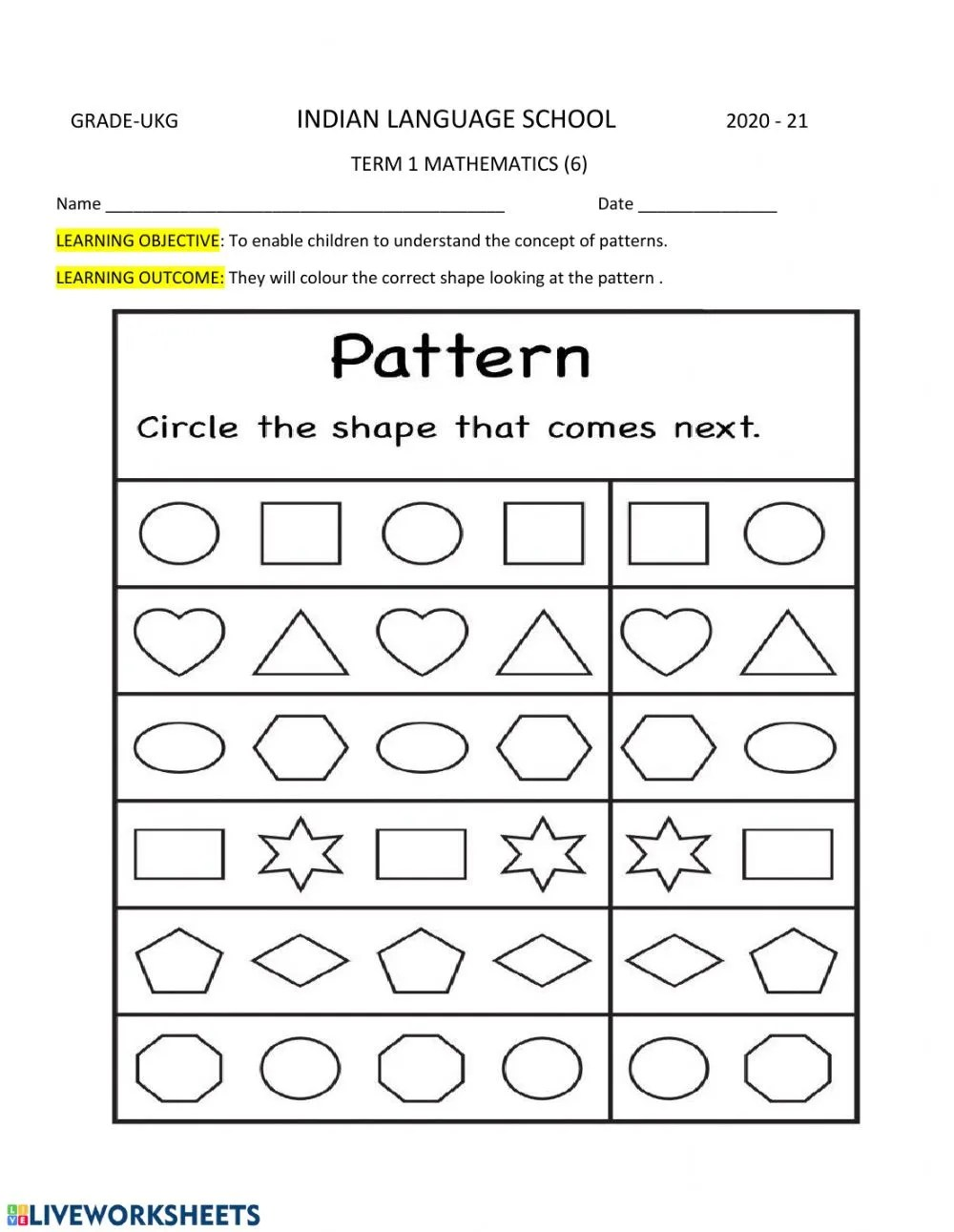 hight resolution of Shapes and Patterns worksheet
