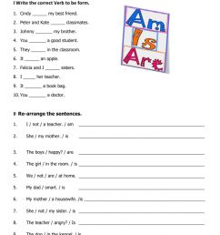 Verb to be online worksheet for 3rd grade [ 1413 x 1000 Pixel ]