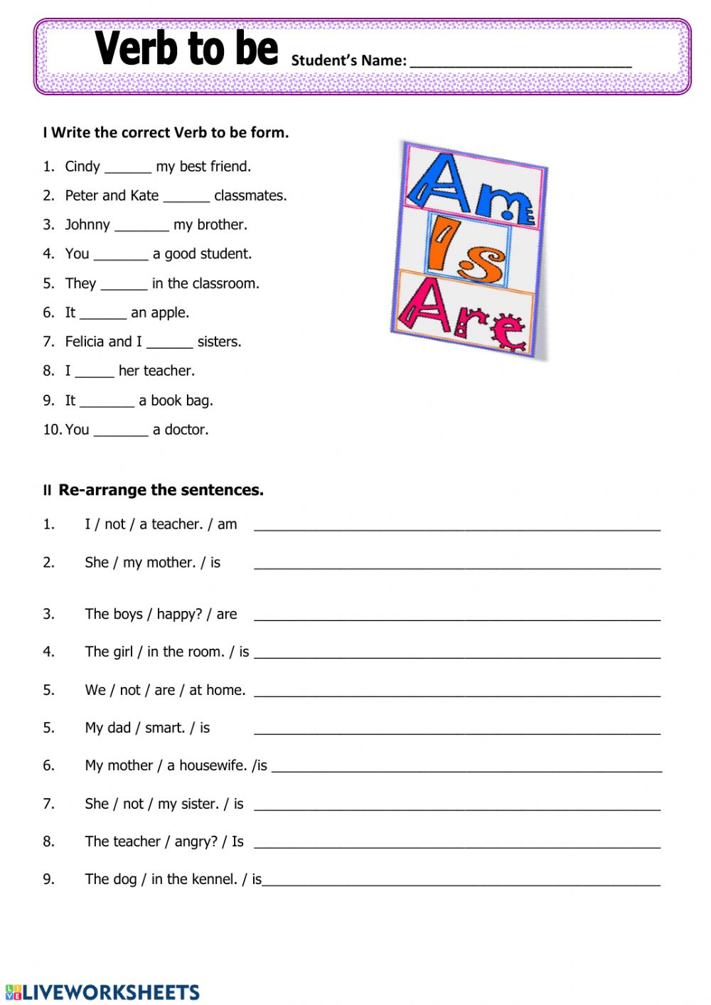 hight resolution of Verb to be online worksheet for 3rd grade