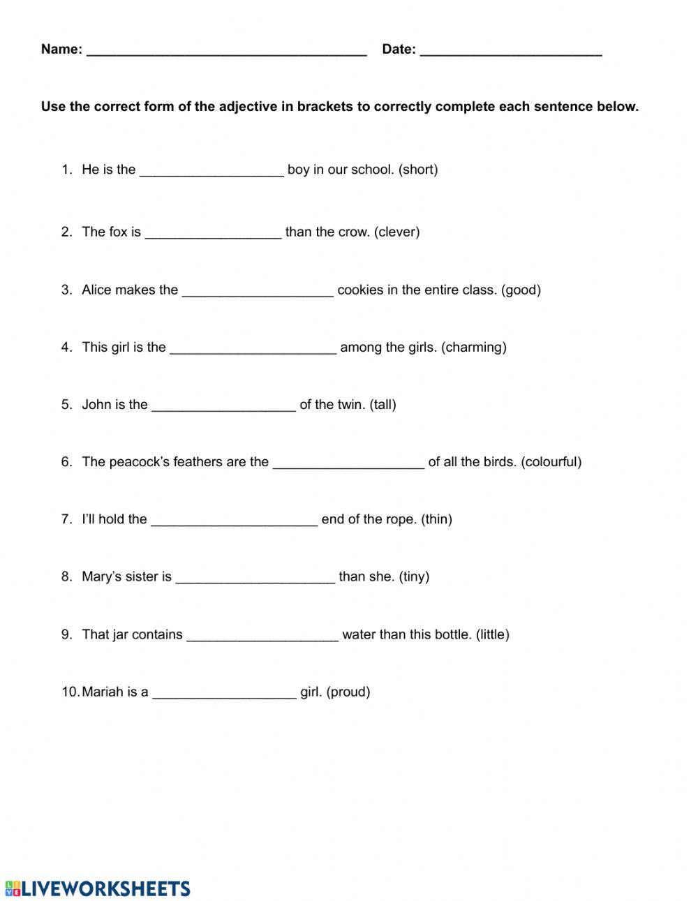 medium resolution of Comparing Adjectives worksheet
