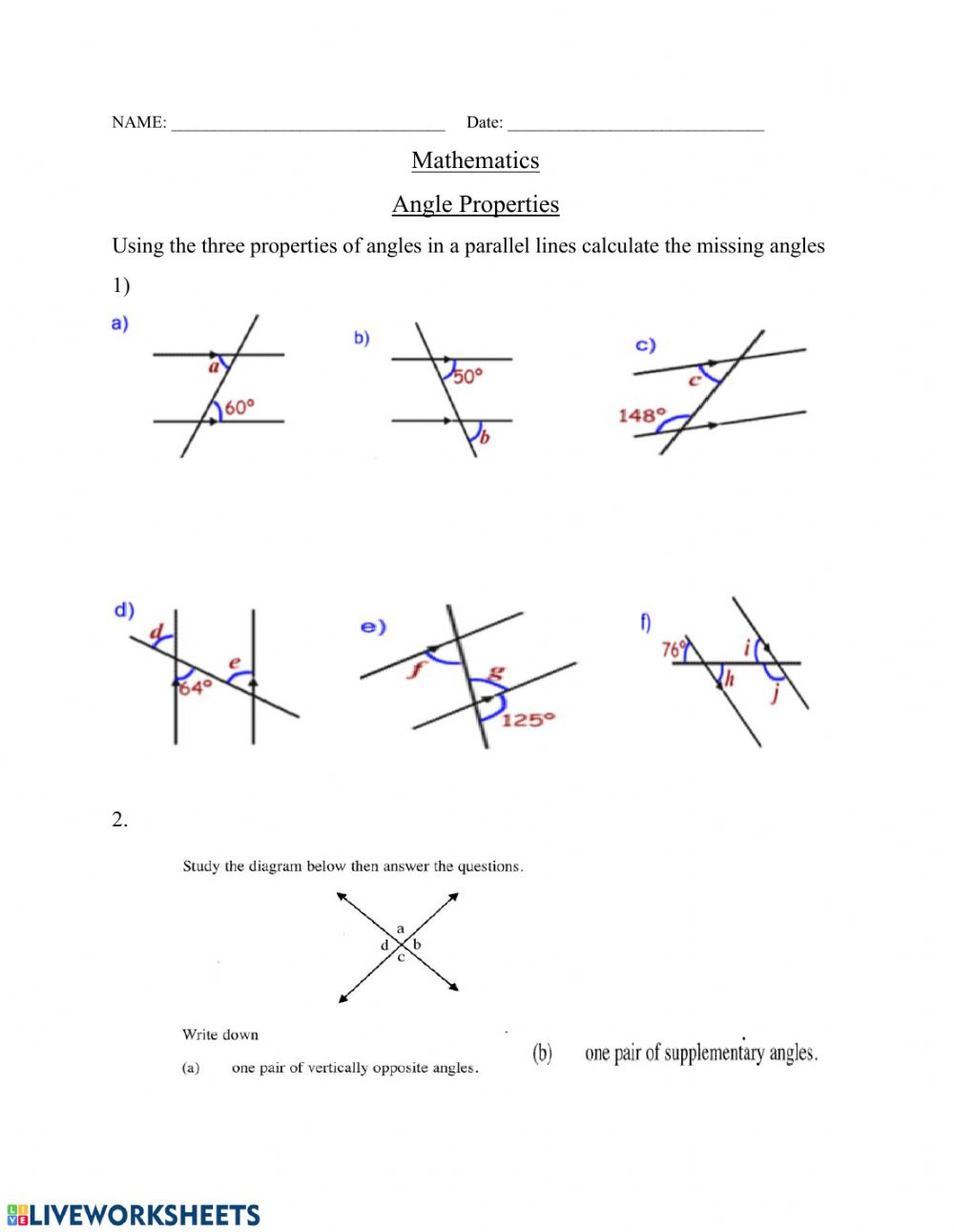 medium resolution of Angle properties worksheet