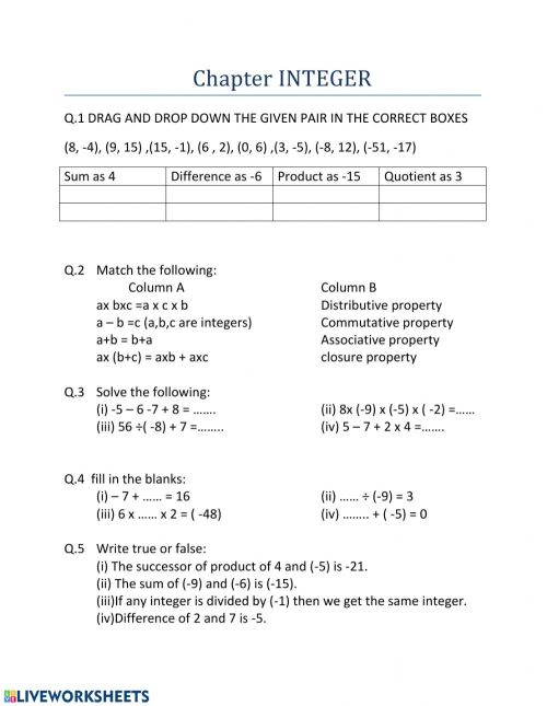 small resolution of Integer worksheet