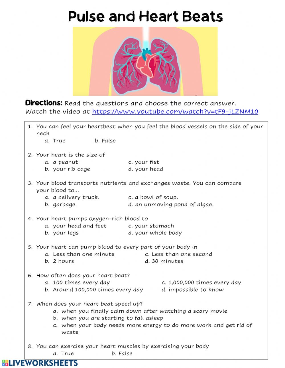 medium resolution of Heart Beat and Pulse worksheet