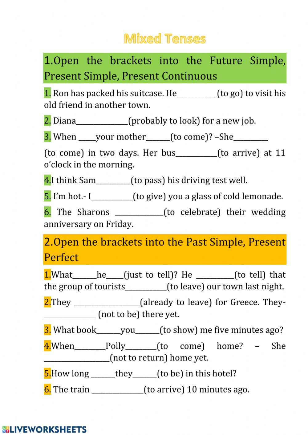 hight resolution of Mixed Tenses online worksheet