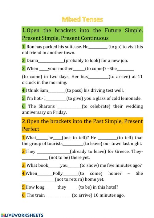 small resolution of Mixed Tenses online worksheet
