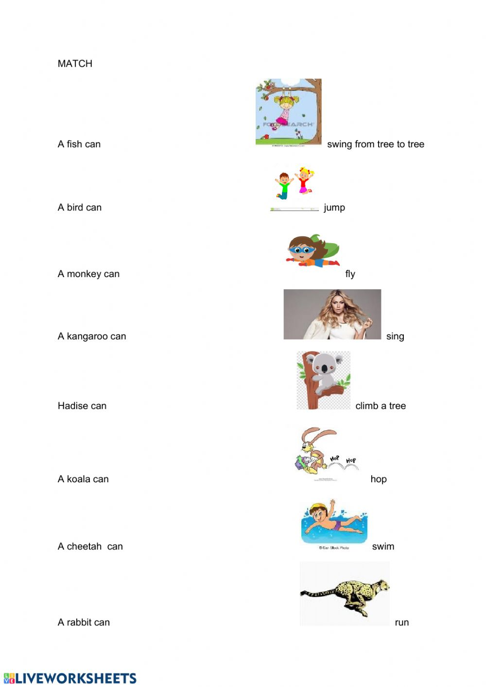hight resolution of Action verbs online exercise for grade 1