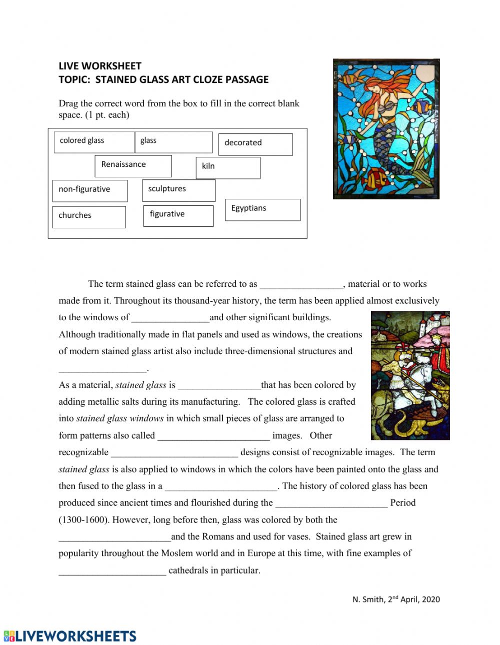 hight resolution of Stained Glass Art Cloze Passage worksheet