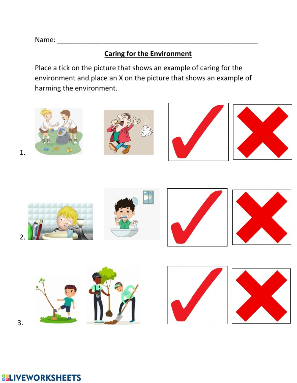 hight resolution of Caring for the Environment worksheet
