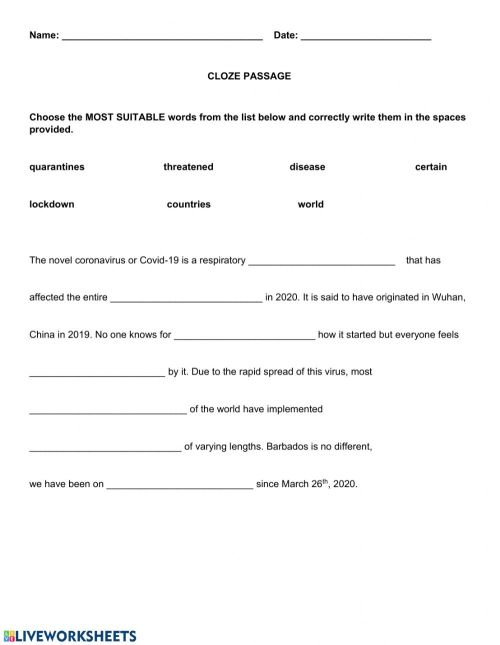 small resolution of Covid-19 Cloze worksheet