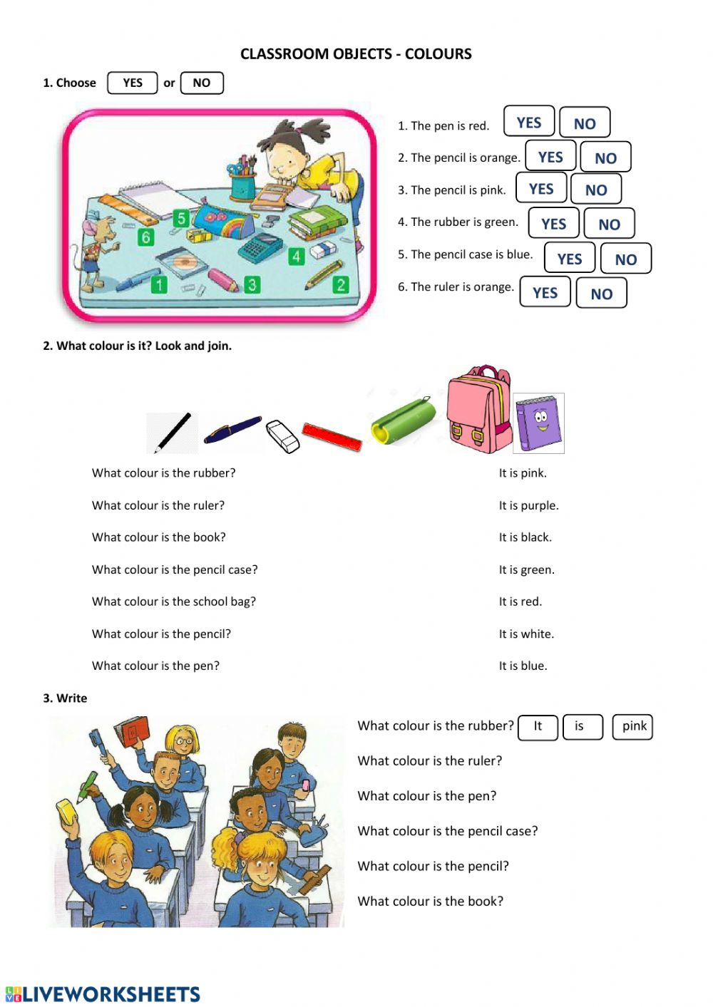 hight resolution of 3rd Grade Colours Classroom objects worksheet
