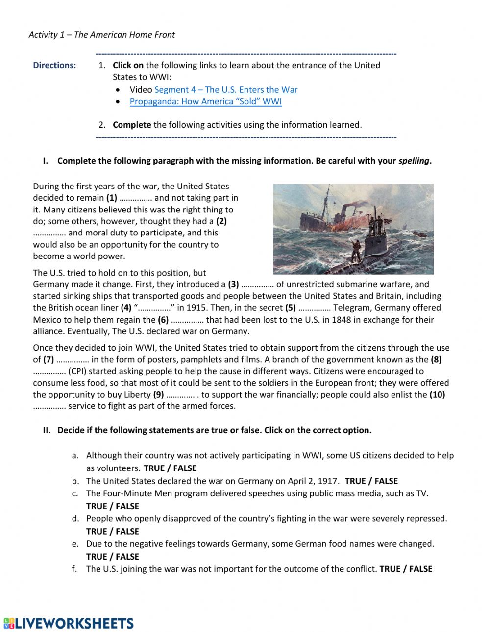 hight resolution of WWI - The American Home Front worksheet