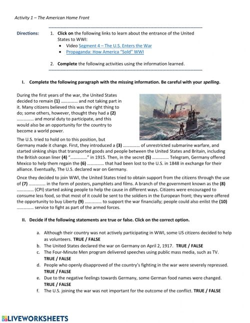 small resolution of WWI - The American Home Front worksheet