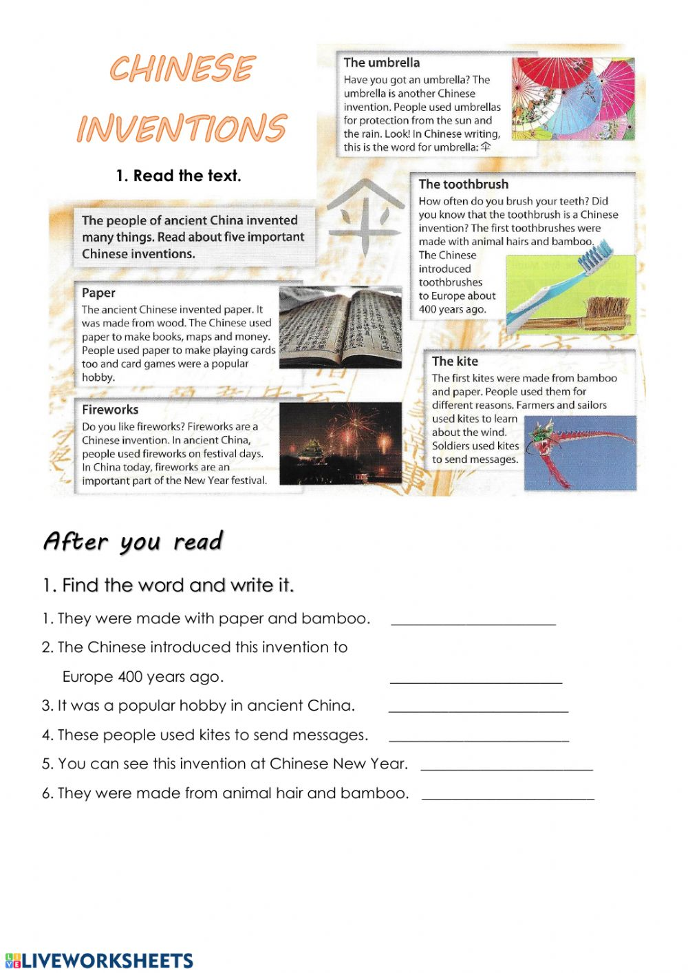 medium resolution of Reading: Chinese inventions worksheet