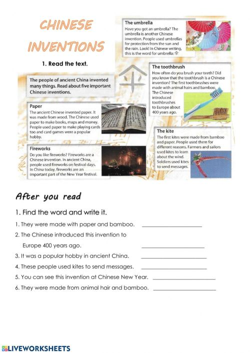 small resolution of Reading: Chinese inventions worksheet