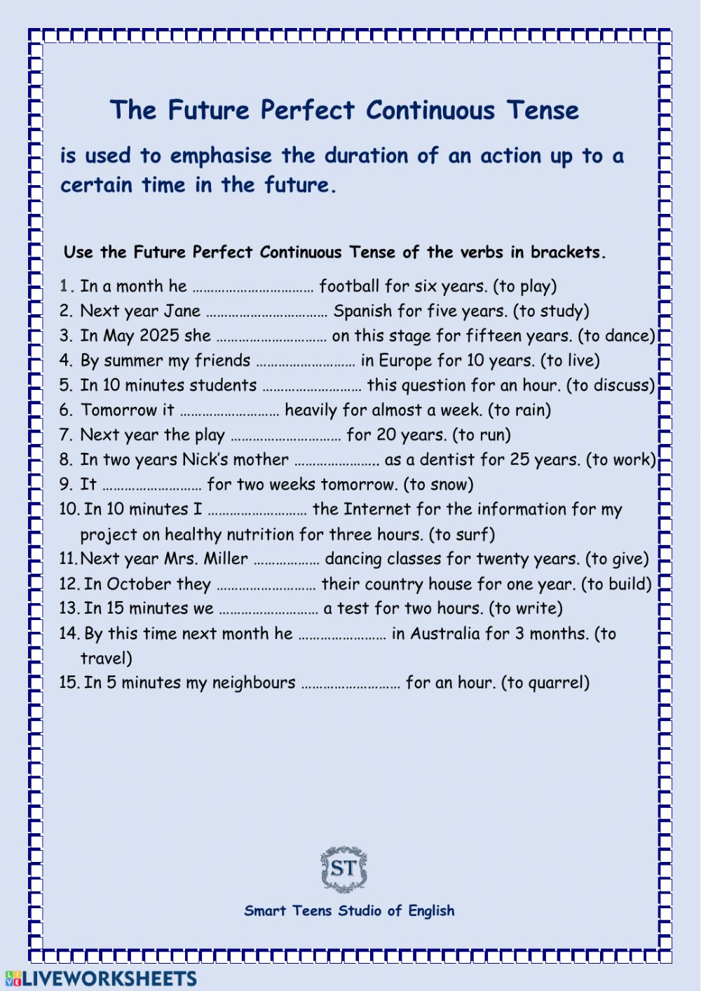 medium resolution of The Future Perfect Continuous Tense worksheet