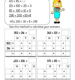 Grade 3: Mathematics: Breaking up method worksheet [ 1413 x 1000 Pixel ]