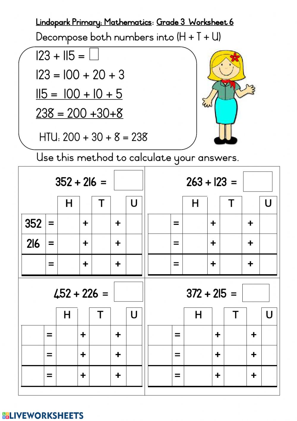 medium resolution of Grade 3: Mathematics: Breaking up method worksheet