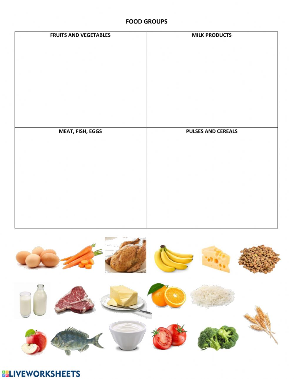 hight resolution of Food Groups interactive worksheet