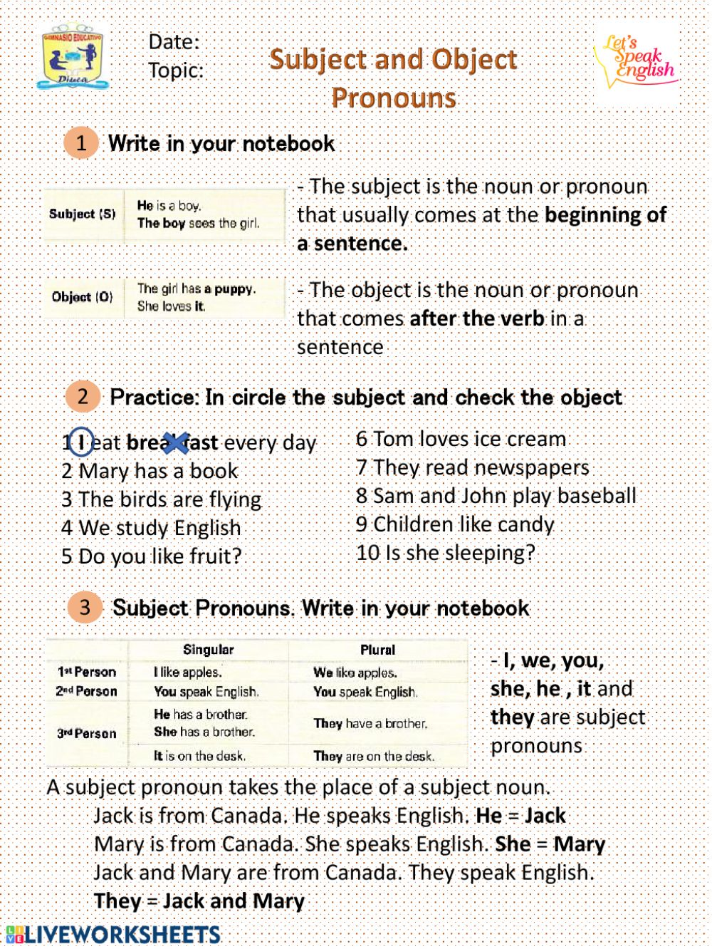 hight resolution of Subject and Object Pronoun interactive worksheet