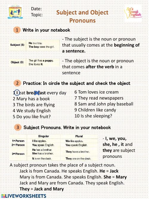 small resolution of Subject and Object Pronoun interactive worksheet