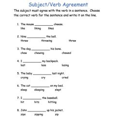Subject-Verb Agreement - fill in the blank worksheet [ 1291 x 1000 Pixel ]
