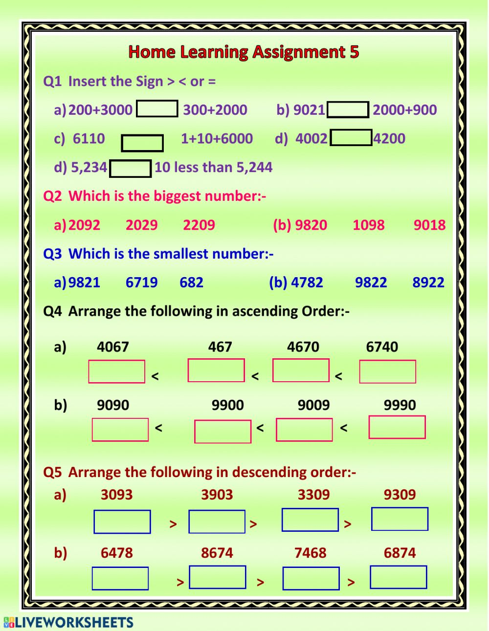 hight resolution of Comparing the numbers worksheet