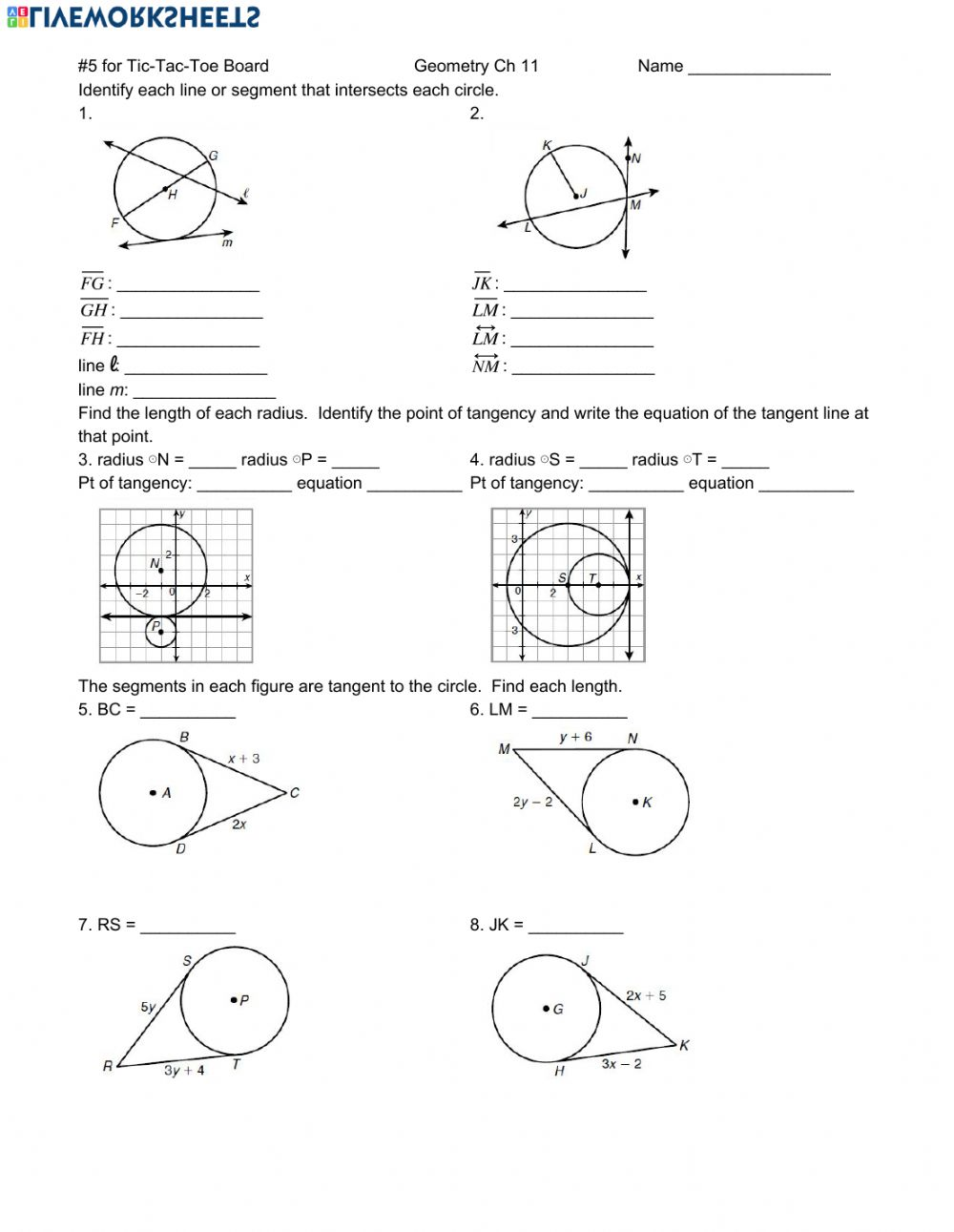 hight resolution of Circles worksheet