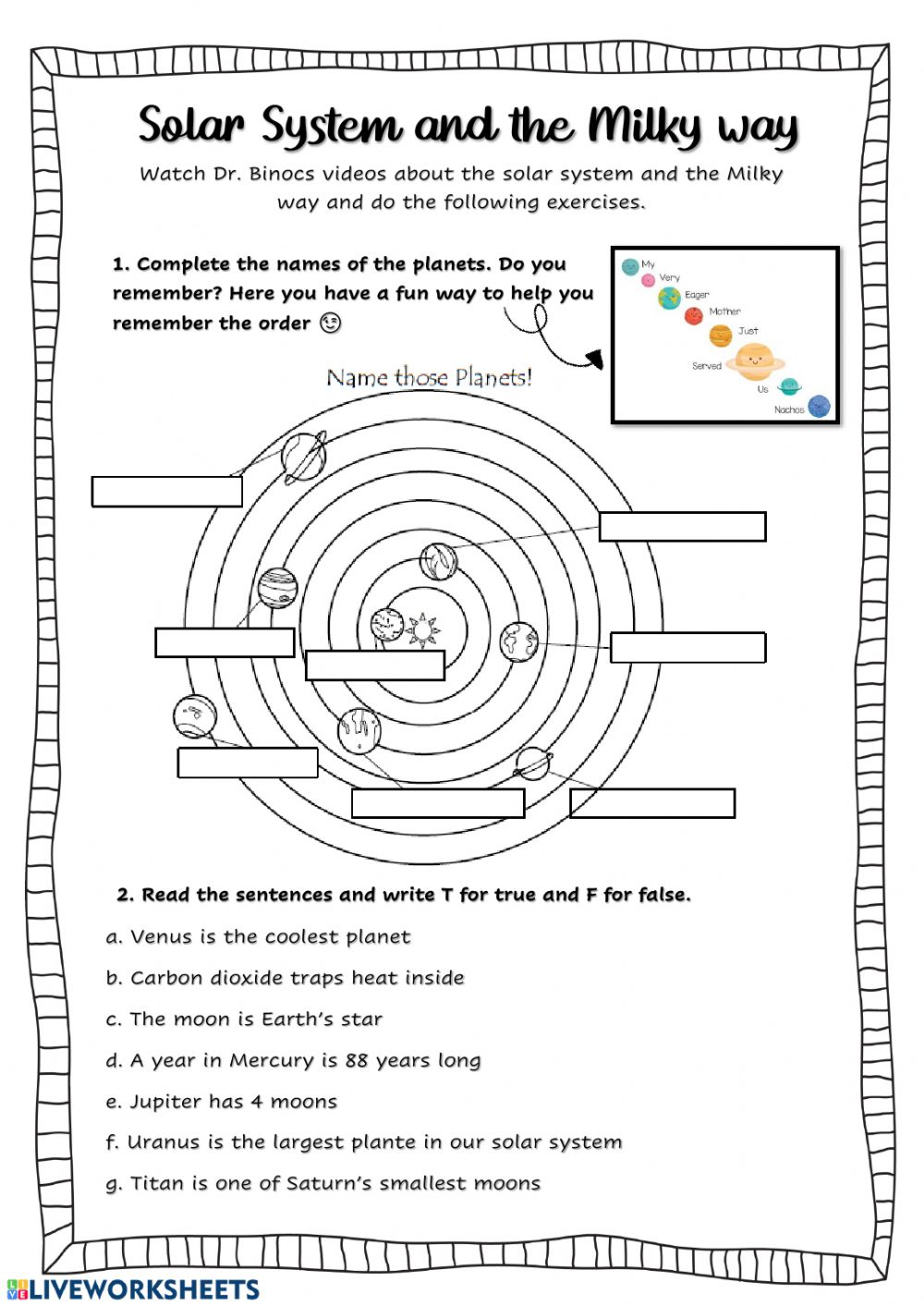 hight resolution of The solar system interactive activity