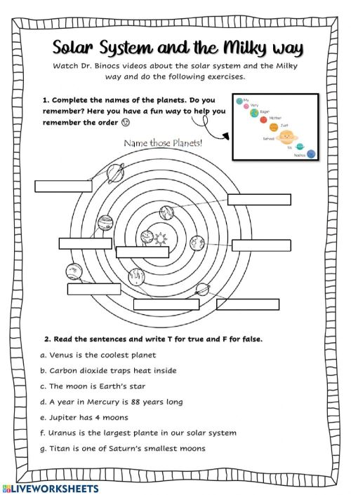 small resolution of The solar system interactive activity