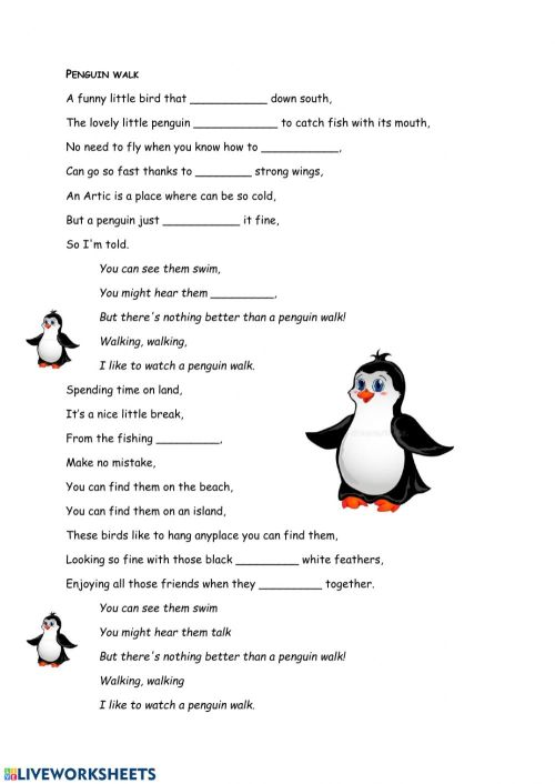 small resolution of The Penguin Walk - a song worksheet