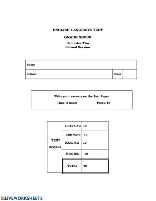 small resolution of Grade 7 Practice Paper worksheet