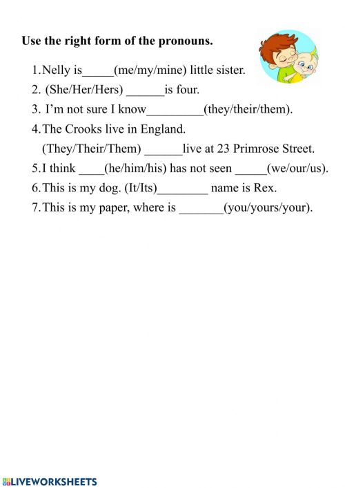 small resolution of Pronouns online pdf activity