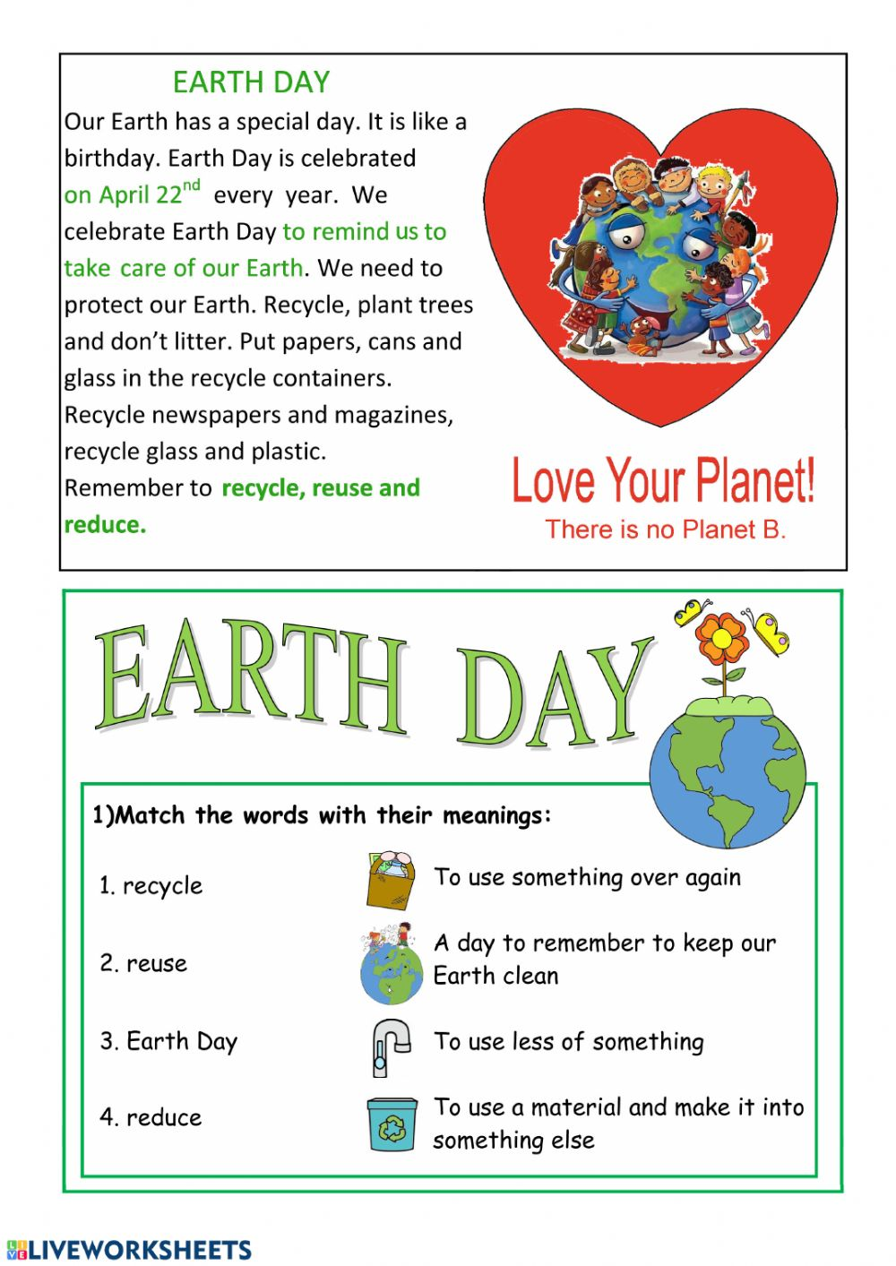 hight resolution of Earth Day interactive activity for Grade 4