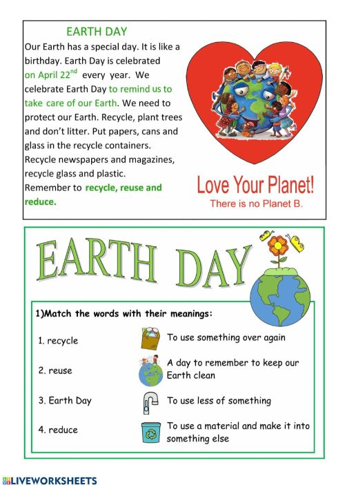 small resolution of Earth Day interactive activity for Grade 4
