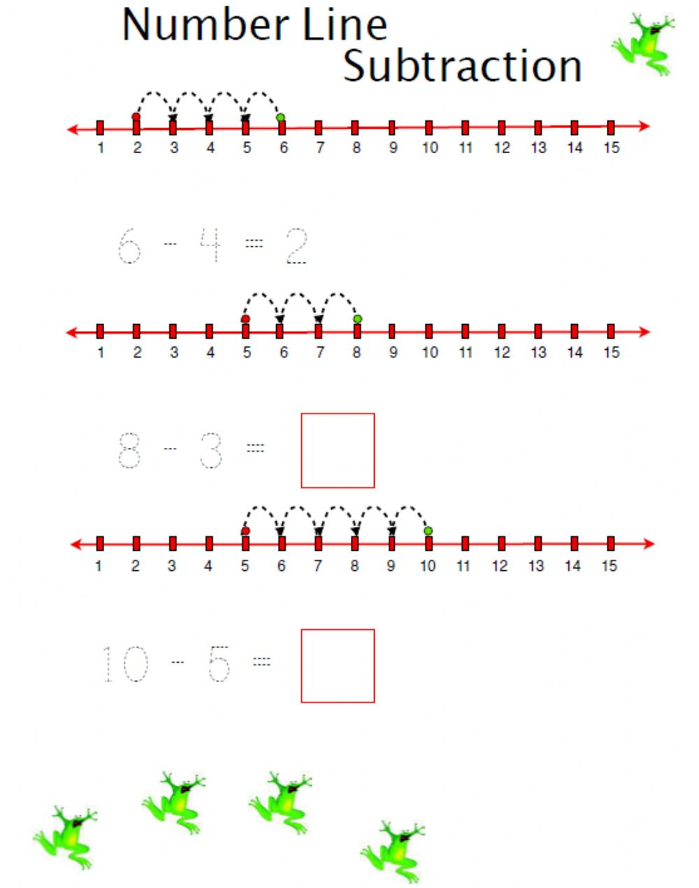 hight resolution of Number Line Subtraction interactive worksheet