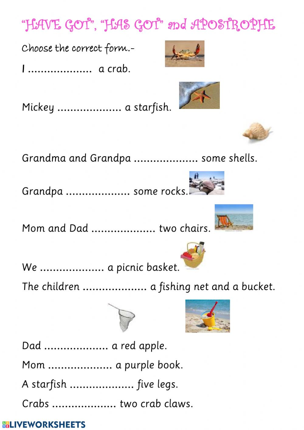 hight resolution of HAVE GOT and APOSTROPHES worksheet