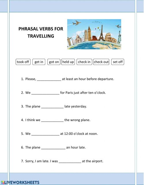 small resolution of Phrasal verbs travelling interactive worksheet