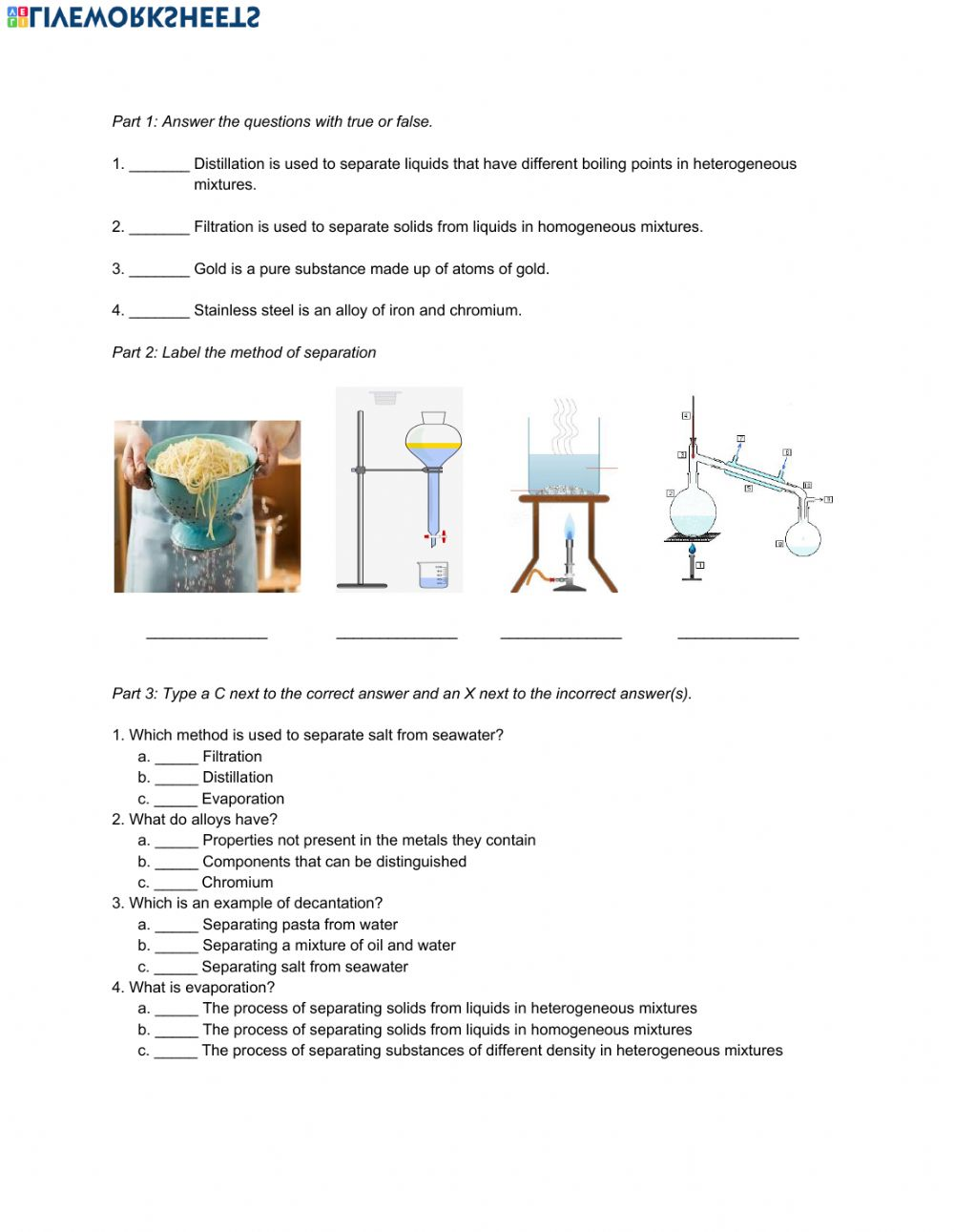 hight resolution of Natural Science 6th Grade ESL - Unit 7 Matter and Energy worksheet