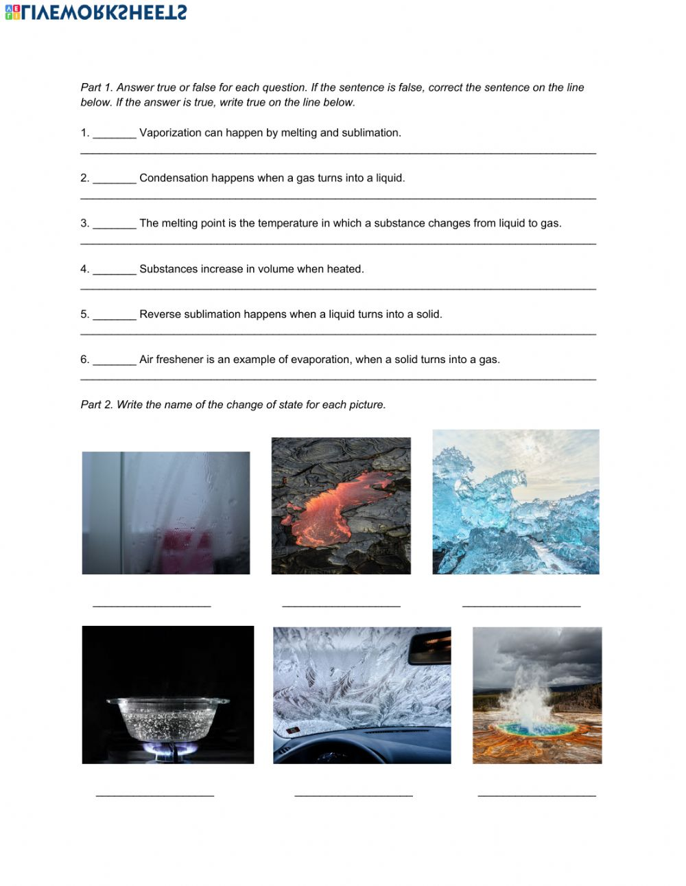hight resolution of Natural Science 6th Grade ESL - Unit 7 Matter and Energy interactive  worksheet