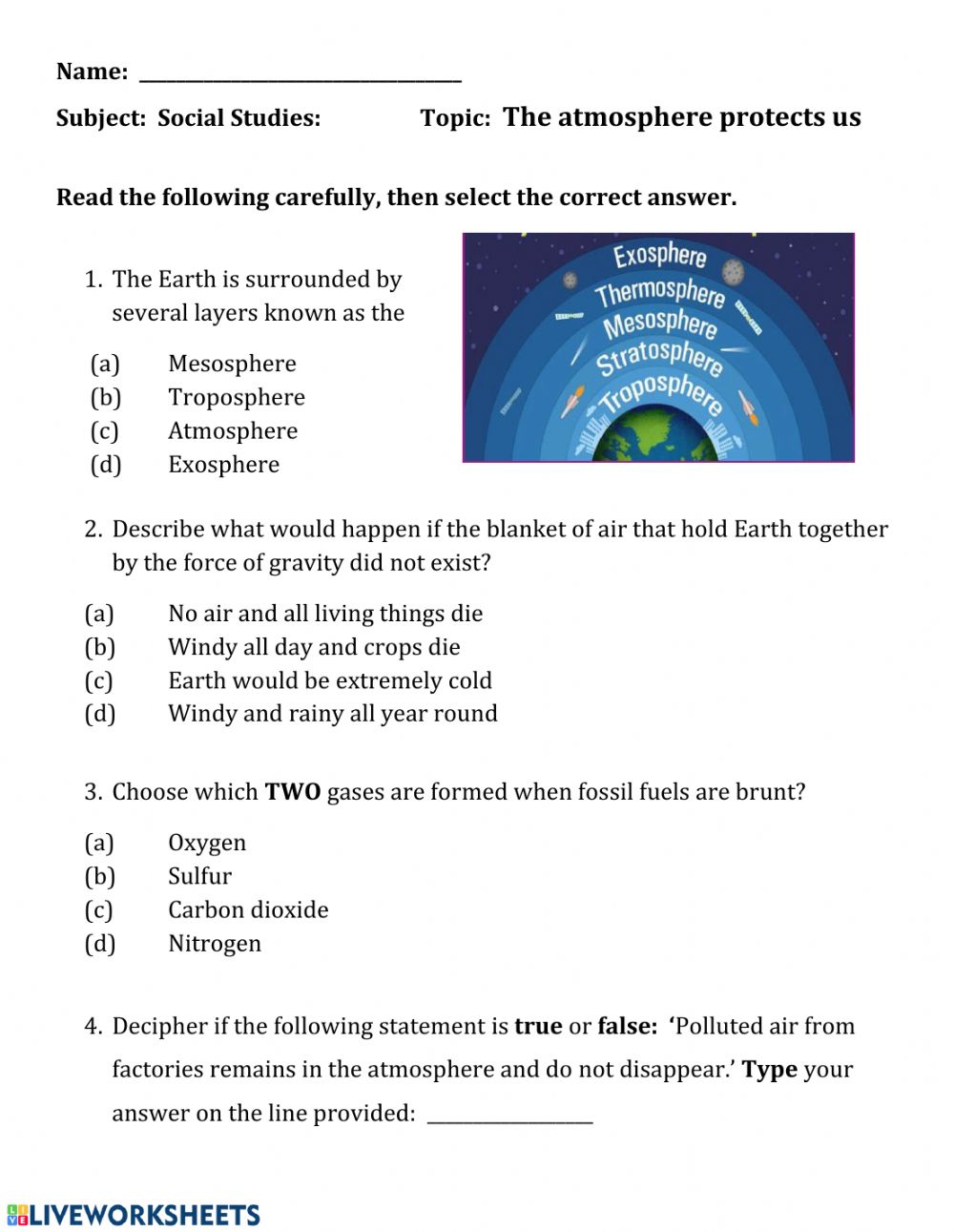 medium resolution of The atmosphere protects us worksheet