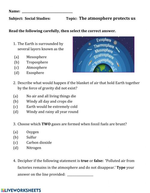 small resolution of The atmosphere protects us worksheet