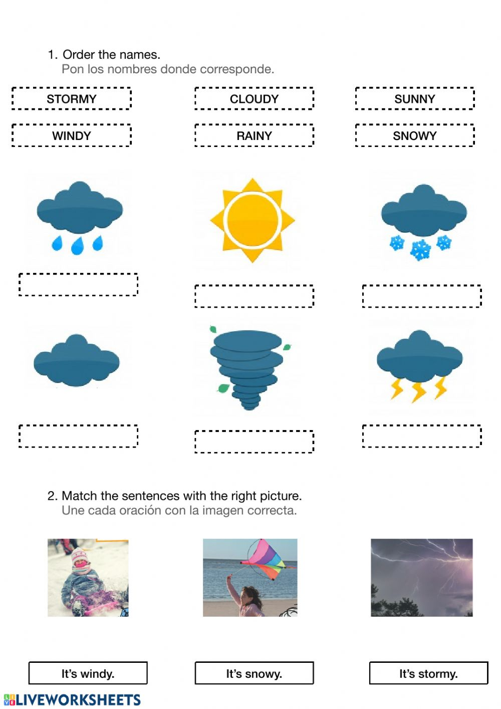 hight resolution of Weather worksheet for 1º