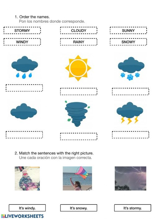 small resolution of Weather worksheet for 1º