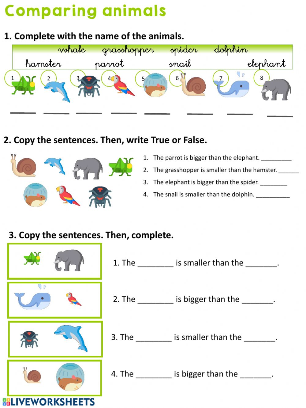 hight resolution of Comparing animals worksheet
