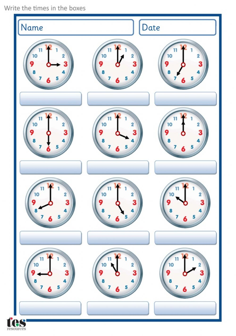 hight resolution of Time interactive exercise for Grade 2