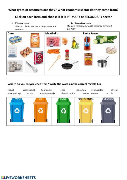 small resolution of Economic Sectors \u0026 Recycling worksheet