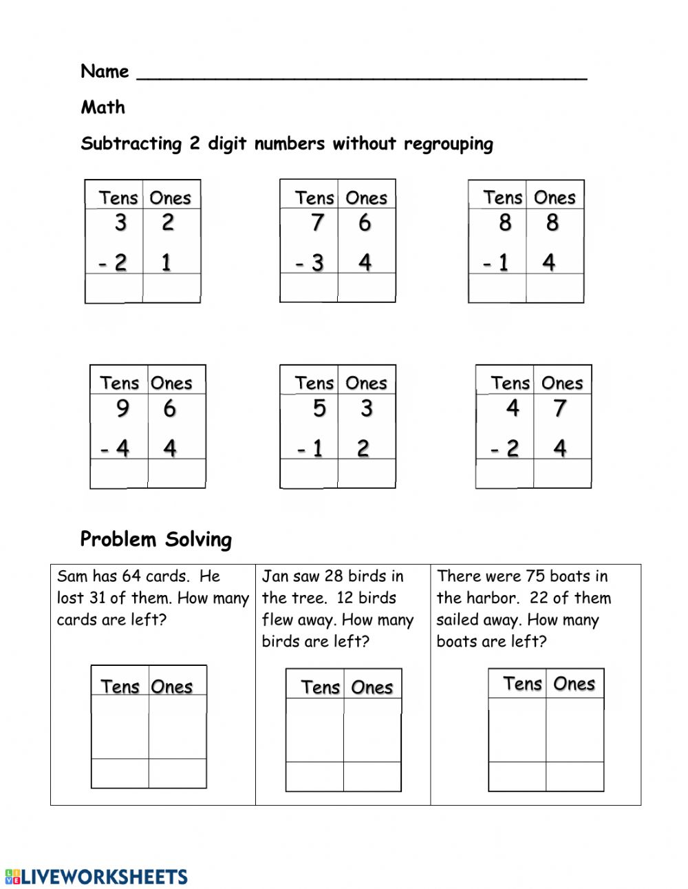 hight resolution of 2 digit Subtraction worksheet